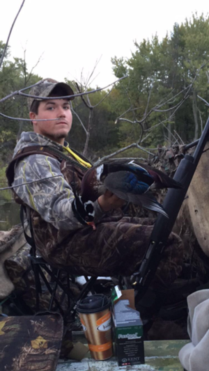 Hunter Vogel with a pretty drake Wood duck
